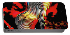 Portable Battery Charger featuring the digital art 5600s-mak Nude On Her Haunches Curves Stripes Art Rendered In Red Palette Knife Style by Chris Maher