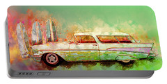 57 Chevy Nomad Wagon Blowing Beach Sand Portable Battery Charger