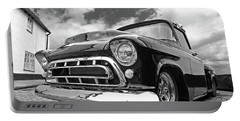 57 Stepside Chevy In Black And White Portable Battery Charger