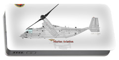 Portable Battery Charger featuring the digital art Bell Boeing Mv-22b Osprey by Arthur Eggers