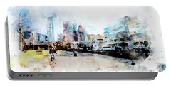 City Life In Watercolor Style Portable Battery Charger