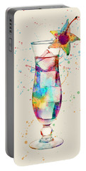 Cocktail Drinks Glass Watercolor Portable Battery Charger