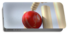 Cricket Ball Hitting Wickets Portable Battery Charger
