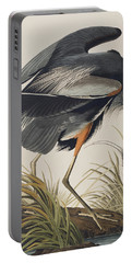 Great Blue Heron Portable Battery Charger by John James Audubon