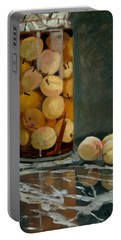 Jar Of Peaches Portable Battery Charger by Claude Monet