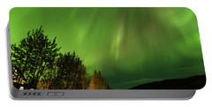 Northern Lights, Aurora Borealis At Kantishna Lodge In Denali National Park Portable Battery Charger by Brenda Jacobs