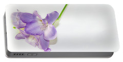 Purple Freesia Portable Battery Charger by Elvira Ladocki