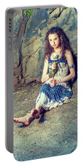 Young American Woman Missing You With White Rose In New York Portable Battery Charger