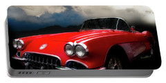 60 Corvette Roadster In Red Portable Battery Charger