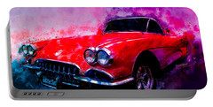 60 Red Corvette Watercolour Illustration Portable Battery Charger