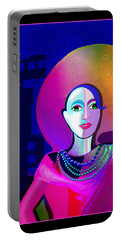 646 - Elegant Lady Pink And Blue 2017 Portable Battery Charger