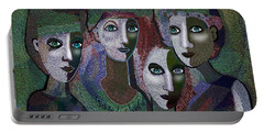Portable Battery Charger featuring the digital art 649 - Gauntly Ladies by Irmgard Schoendorf Welch