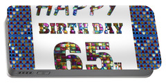 65th Happy Birthday Greeting Cards Pillows Curtains Phone Cases Tote By Navinjoshi Fineartamerica Portable Battery Charger
