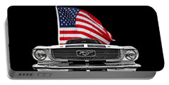 66 Mustang With U.s. Flag On Black Portable Battery Charger