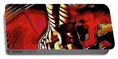 Portable Battery Charger featuring the digital art 6778s-nlj Nude Hand On Back Striped Art Rendered In Red Palette Knife Style by Chris Maher