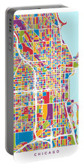 Chicago City Street Map Portable Battery Charger