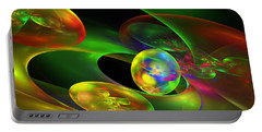 Computer Generated Planet Sphere Abstract Fractal Flame Modern Art Portable Battery Charger by Keith Webber Jr