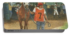 #7 Leading Horse At Racetrack Portable Battery Charger