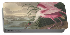 Roseate Spoonbill Portable Battery Charger by John James Audubon