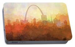 Portable Battery Charger featuring the digital art St Louis Missouri Skyline by Marlene Watson