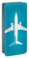 737 Passenger Jet Airliner Aircraft - Cyan Portable Battery Charger
