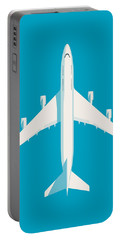 747 Jumbo Jet Airliner Aircraft - Cyan Portable Battery Charger
