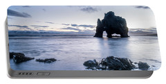 Dinosaur Rock Beach In Iceland Portable Battery Charger by Joe Belanger