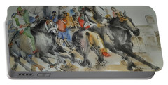 Portable Battery Charger featuring the painting Siena And Their Palio Album by Debbi Saccomanno Chan