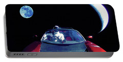 Starman In Tesla Roadster With Planet Earth Traveling In The Space Portable Battery Charger