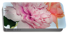 Two Flowers Portable Battery Charger by Elvira Ladocki