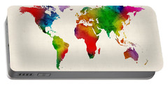 Portable Battery Charger featuring the digital art Watercolor Map Of The World Map by Michael Tompsett
