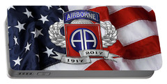82nd Airborne Division 100th Anniversary Insignia Over American Flag  Portable Battery Charger