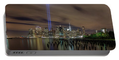 Portable Battery Charger featuring the photograph 9/11 Tribute Lights 2016 by Anthony Fields
