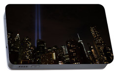 Portable Battery Charger featuring the photograph 9-11 Tribute Nyc Skyline From Seaport by Jeff at JSJ Photography