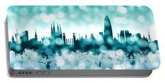 Barcelona Spain Skyline Portable Battery Charger by Michael Tompsett