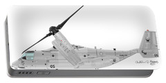 Portable Battery Charger featuring the digital art Bell-boeing Mv-22b Osprey by Arthur Eggers