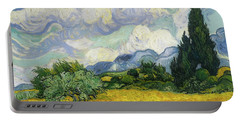 Portable Battery Charger featuring the painting Wheat Field With Cypresses by Vincent van Gogh