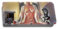 Portable Battery Charger featuring the digital art 9747s-dm Watercolor Of Meditating Woman Nude Lotus  by Chris Maher
