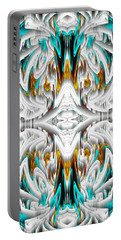 Portable Battery Charger featuring the digital art 992.042212mirror2ornategoldablue-1 by Kris Haas