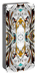 Portable Battery Charger featuring the digital art 992.042212mirror2ornateredagold-1a-1 by Kris Haas