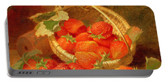 A Basket Of Strawberries On A Stone Ledge Portable Battery Charger
