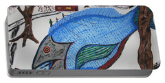 Portable Battery Charger featuring the painting A Big Fish Tale by Jeffrey Koss