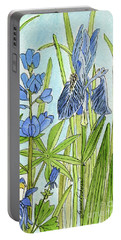 Portable Battery Charger featuring the painting A Blue Garden by Laurie Rohner