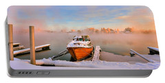 Boat On Frozen Lake Portable Battery Charger by Rose-Maries Pictures