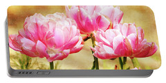 A Bouquet Of Tulips Portable Battery Charger by Trina Ansel