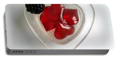 Portable Battery Charger featuring the photograph A Bowl Of Hearts And A Blackberry by Ausra Huntington nee Paulauskaite