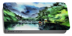 Portable Battery Charger featuring the painting A Bridge Not Too Far by Anil Nene