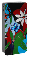 Portable Battery Charger featuring the painting A Butterflies Paradise by Kathleen Sartoris