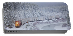 A Canadian Pacific Train Travels Along Portable Battery Charger