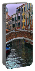 A Canal In Venice Portable Battery Charger by Tom Prendergast